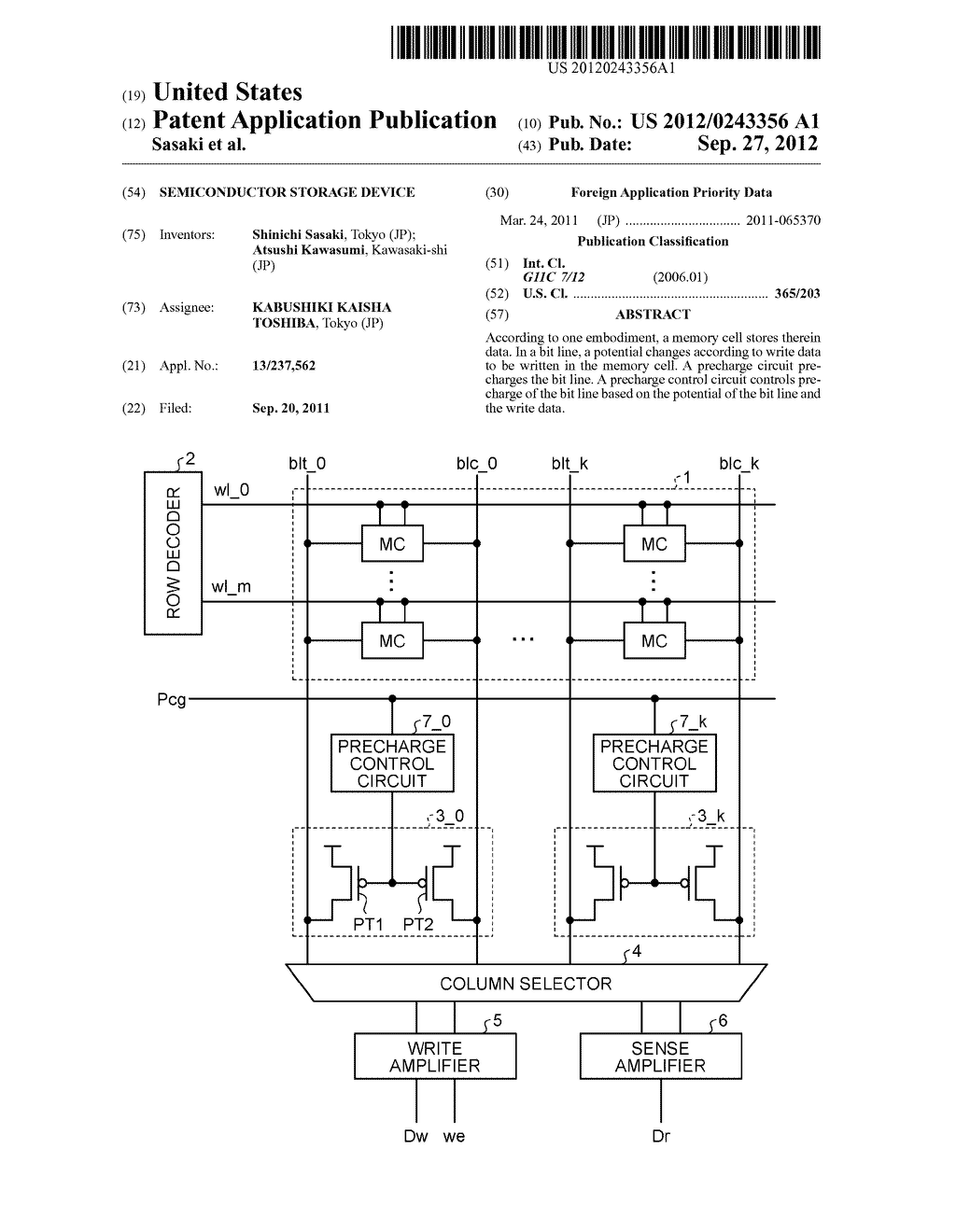 SEMICONDUCTOR STORAGE DEVICE - diagram, schematic, and image 01