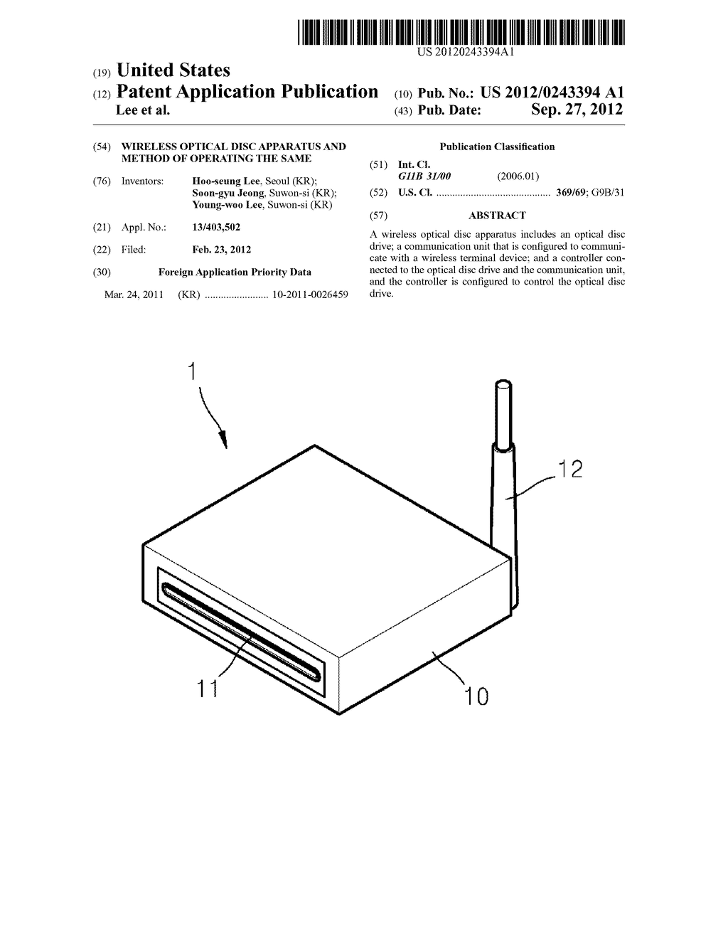 WIRELESS OPTICAL DISC APPARATUS AND METHOD OF OPERATING THE SAME - diagram, schematic, and image 01