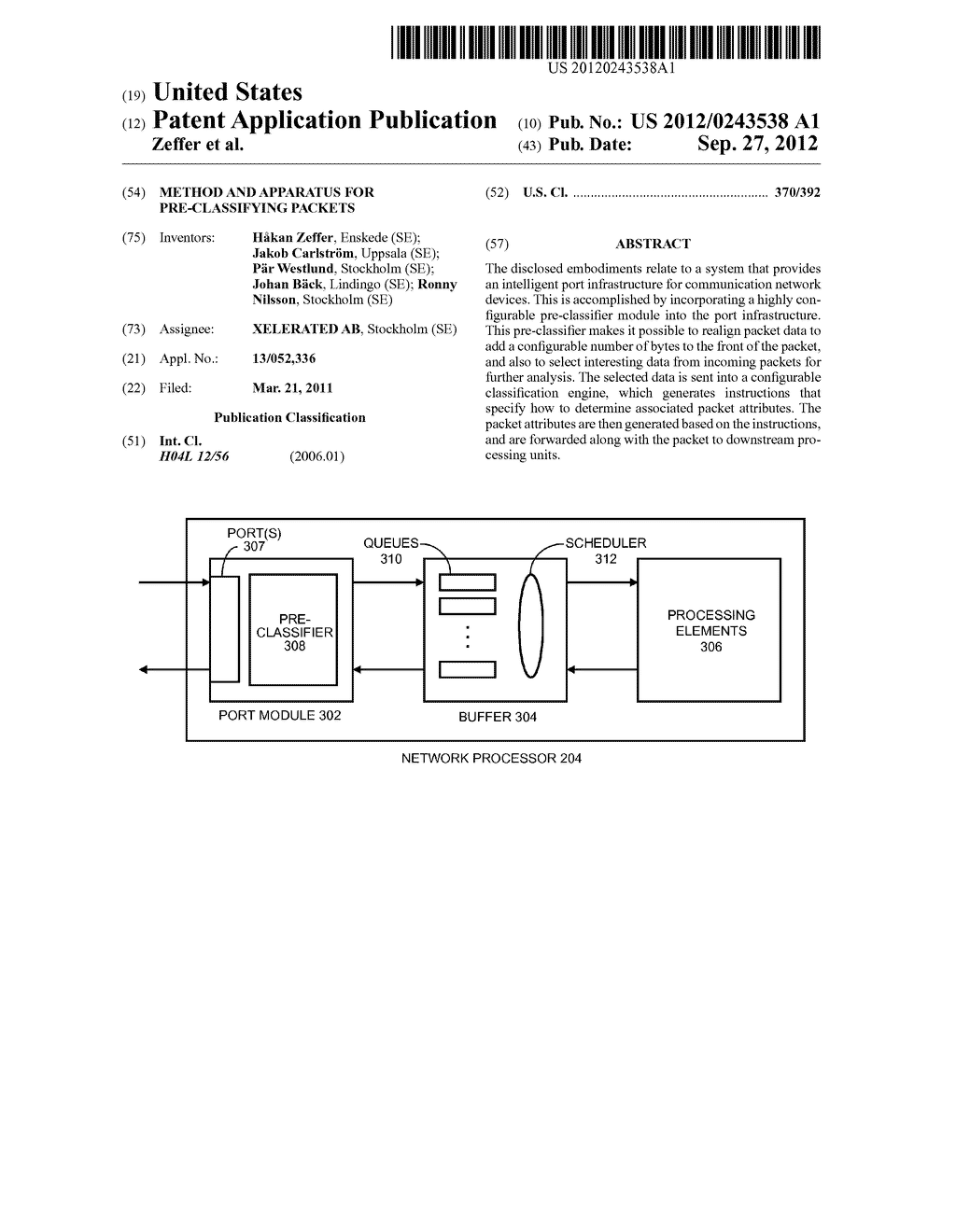 METHOD AND APPARATUS FOR PRE-CLASSIFYING PACKETS - diagram, schematic, and image 01
