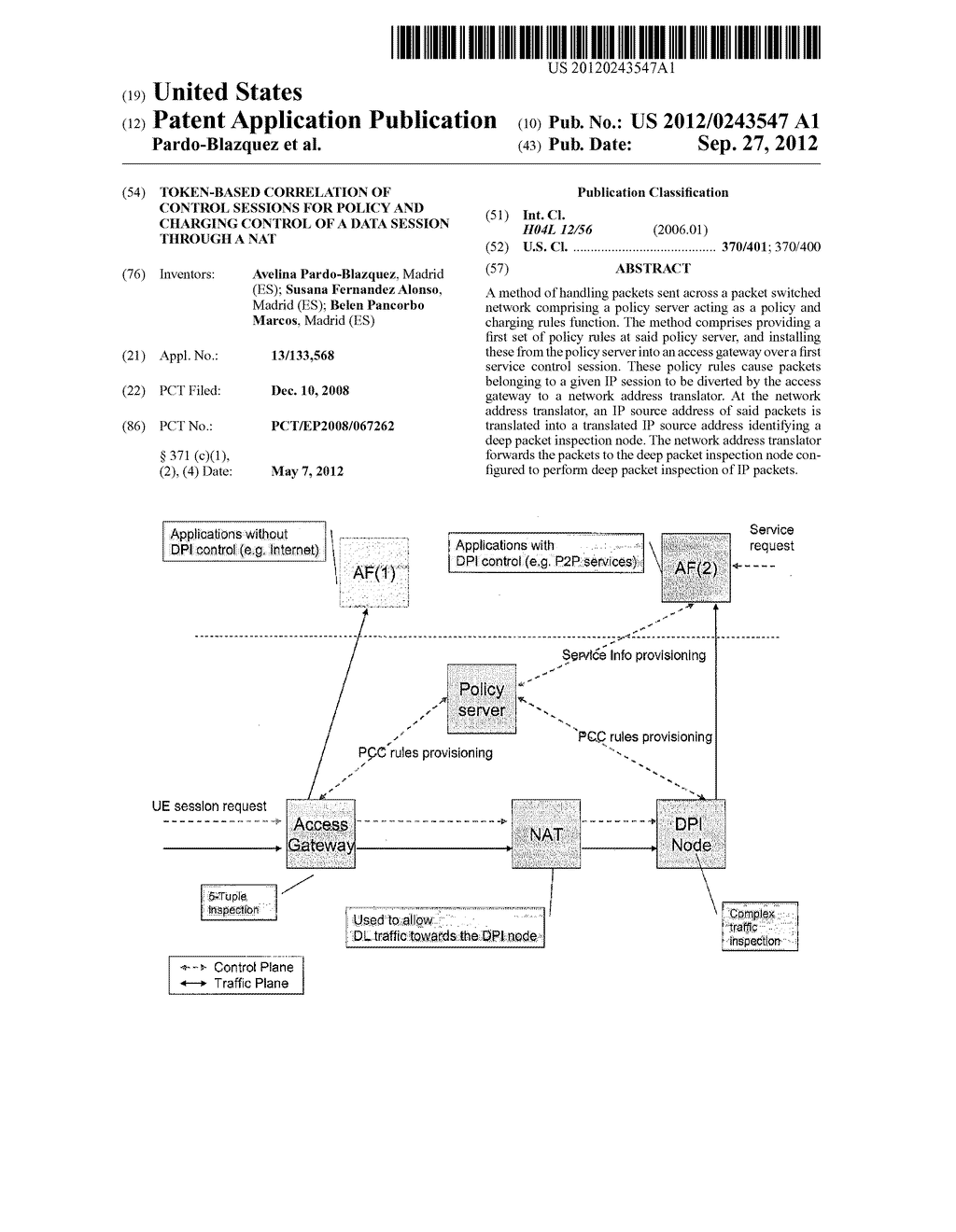 TOKEN-BASED CORRELATION OF CONTROL SESSIONS FOR POLICY AND CHARGING     CONTROL OF A DATA SESSION THROUGH A NAT - diagram, schematic, and image 01