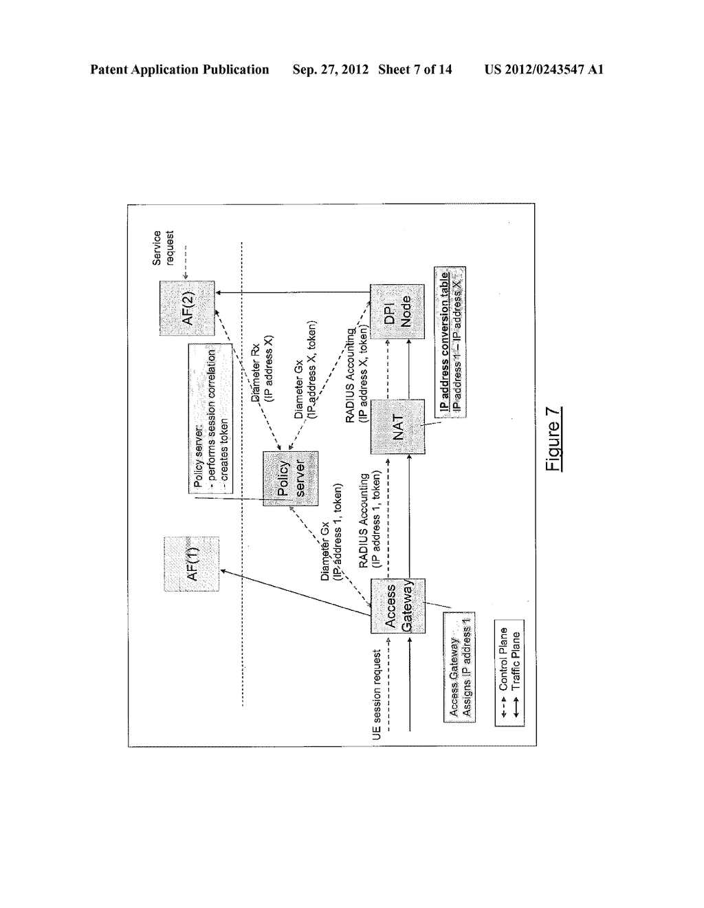 TOKEN-BASED CORRELATION OF CONTROL SESSIONS FOR POLICY AND CHARGING     CONTROL OF A DATA SESSION THROUGH A NAT - diagram, schematic, and image 08