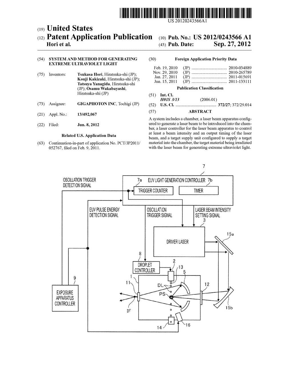 SYSTEM AND METHOD FOR GENERATING EXTREME ULTRAVIOLET LIGHT - diagram, schematic, and image 01