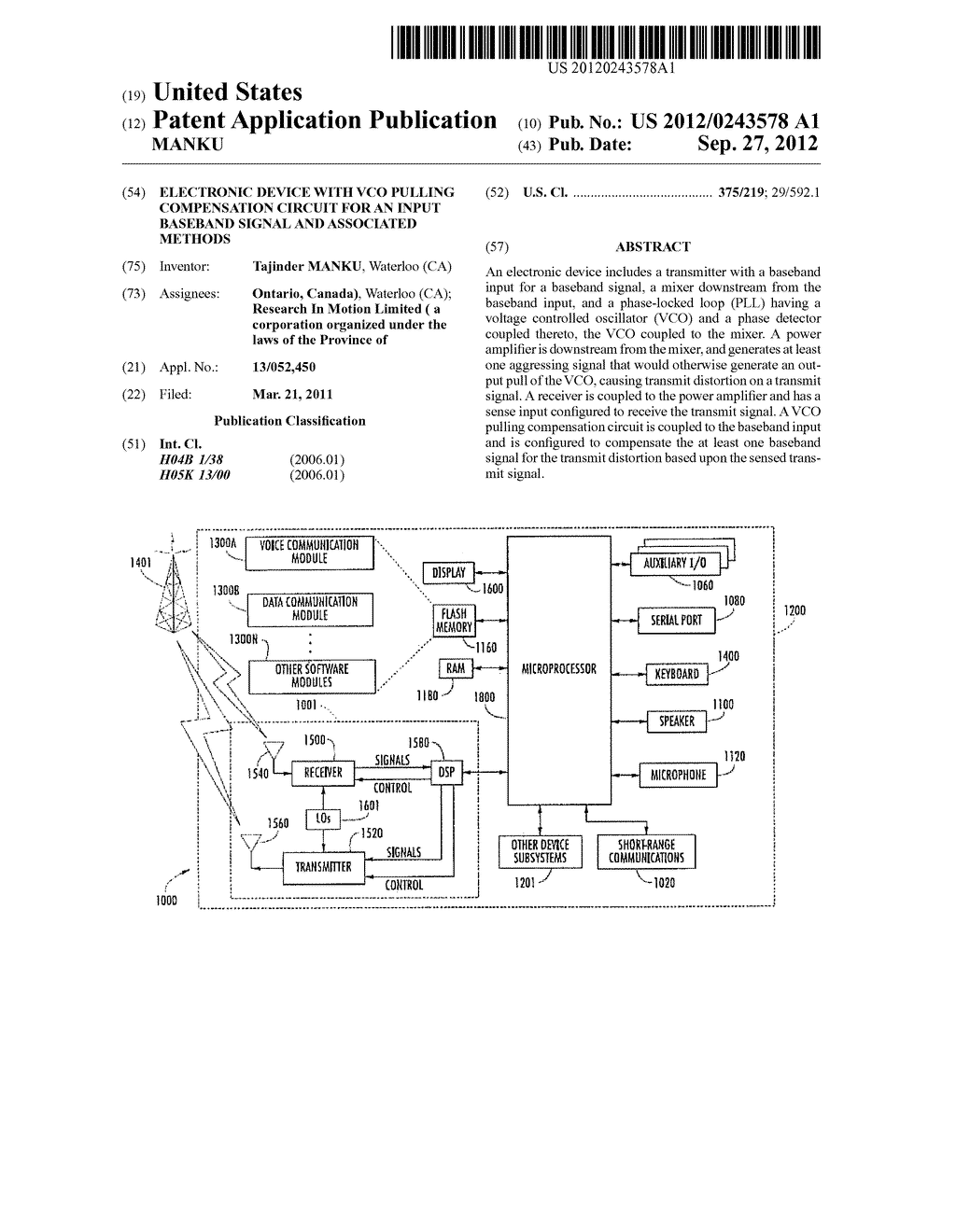 ELECTRONIC DEVICE WITH VCO PULLING COMPENSATION CIRCUIT FOR AN INPUT     BASEBAND SIGNAL AND ASSOCIATED METHODS - diagram, schematic, and image 01
