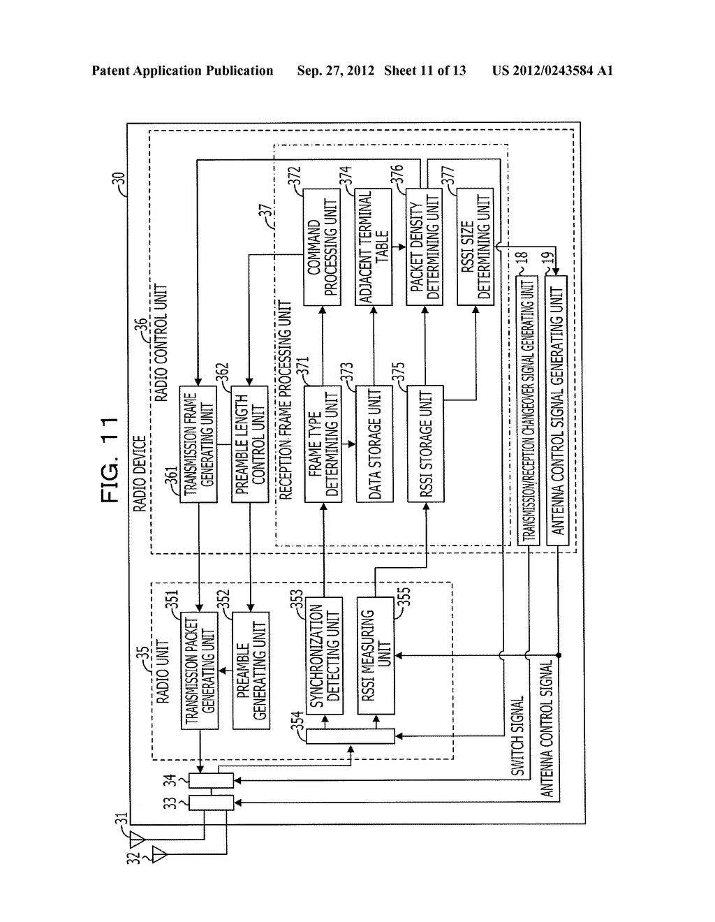 RADIO DEVICE, COMMUNICATION CONTROL METHOD, AND RADIO COMMUNICATION SYSTEM - diagram, schematic, and image 12