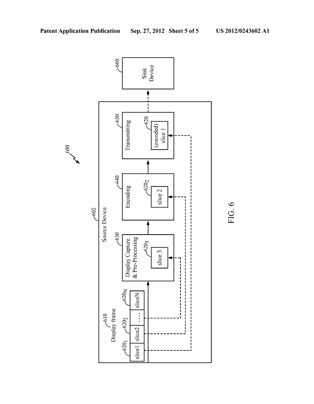 METHOD AND APPARATUS FOR PIPELINED SLICING FOR WIRELESS DISPLAY - diagram, schematic, and image 06