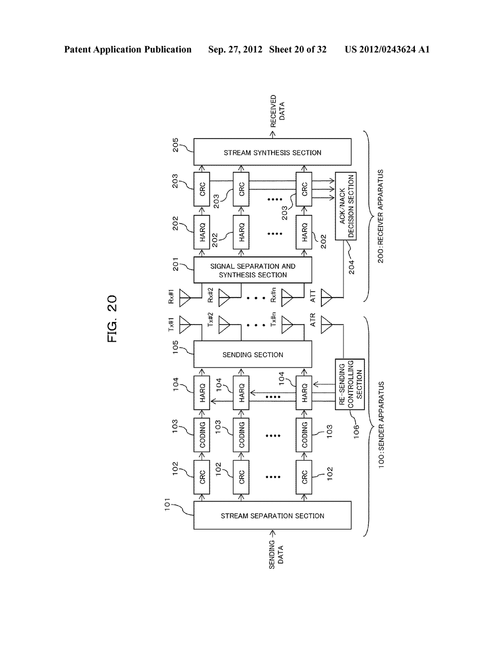 TRANSMISSION CONTROLLING METHOD, SENDER APPARATUS AND RECEIVER APPARATUS     FOR WIRELESS COMMUNICATION SYSTEM - diagram, schematic, and image 21