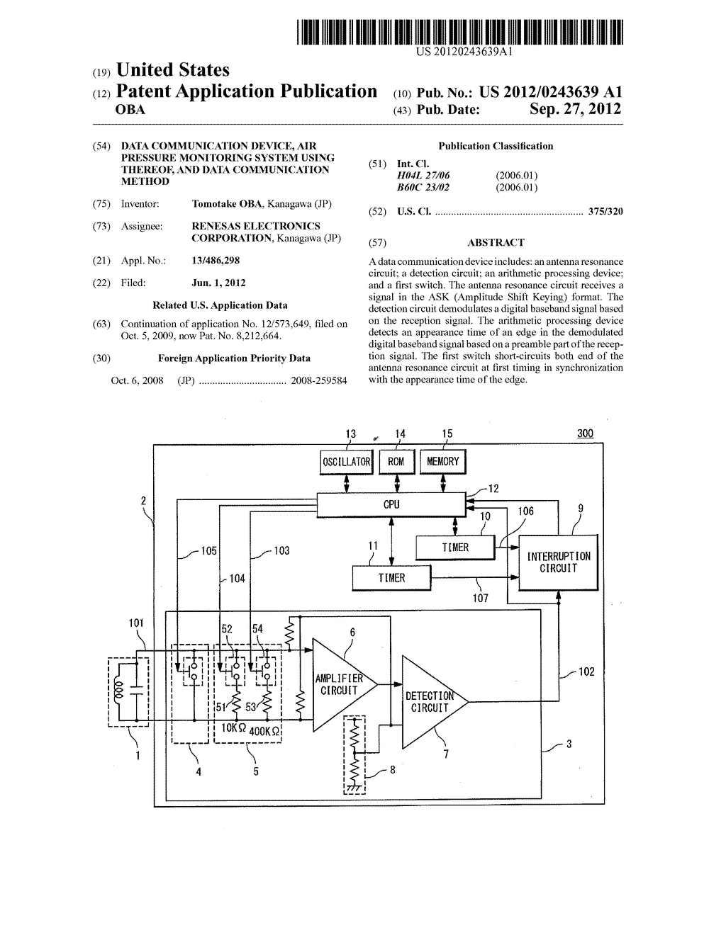 DATA COMMUNICATION DEVICE, AIR PRESSURE MONITORING SYSTEM USING THEREOF,     AND DATA COMMUNICATION METHOD - diagram, schematic, and image 01