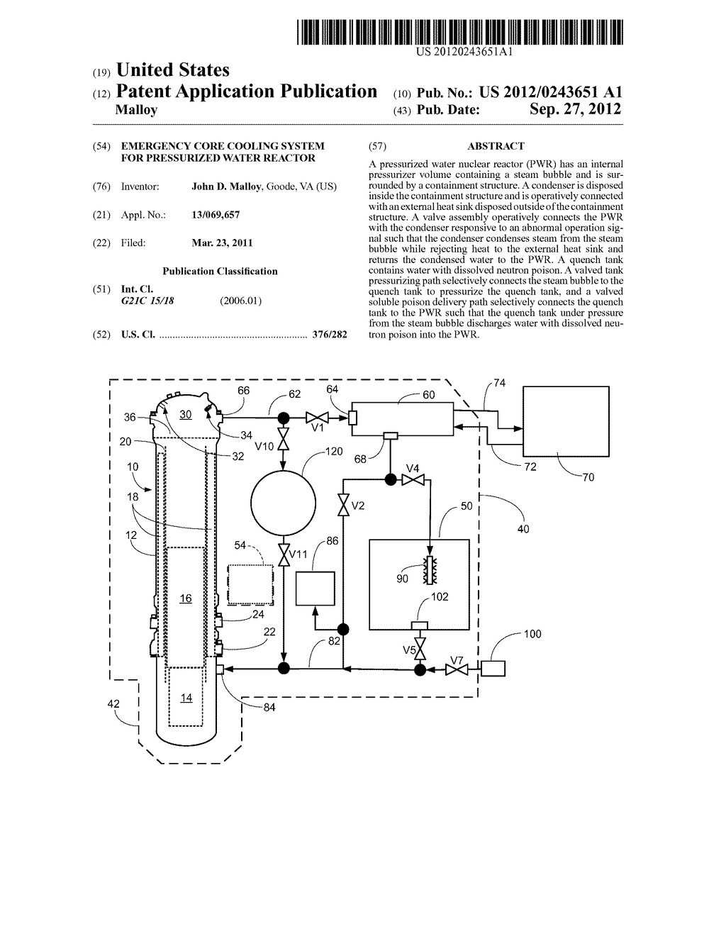 EMERGENCY CORE COOLING SYSTEM FOR PRESSURIZED WATER REACTOR - diagram, schematic, and image 01