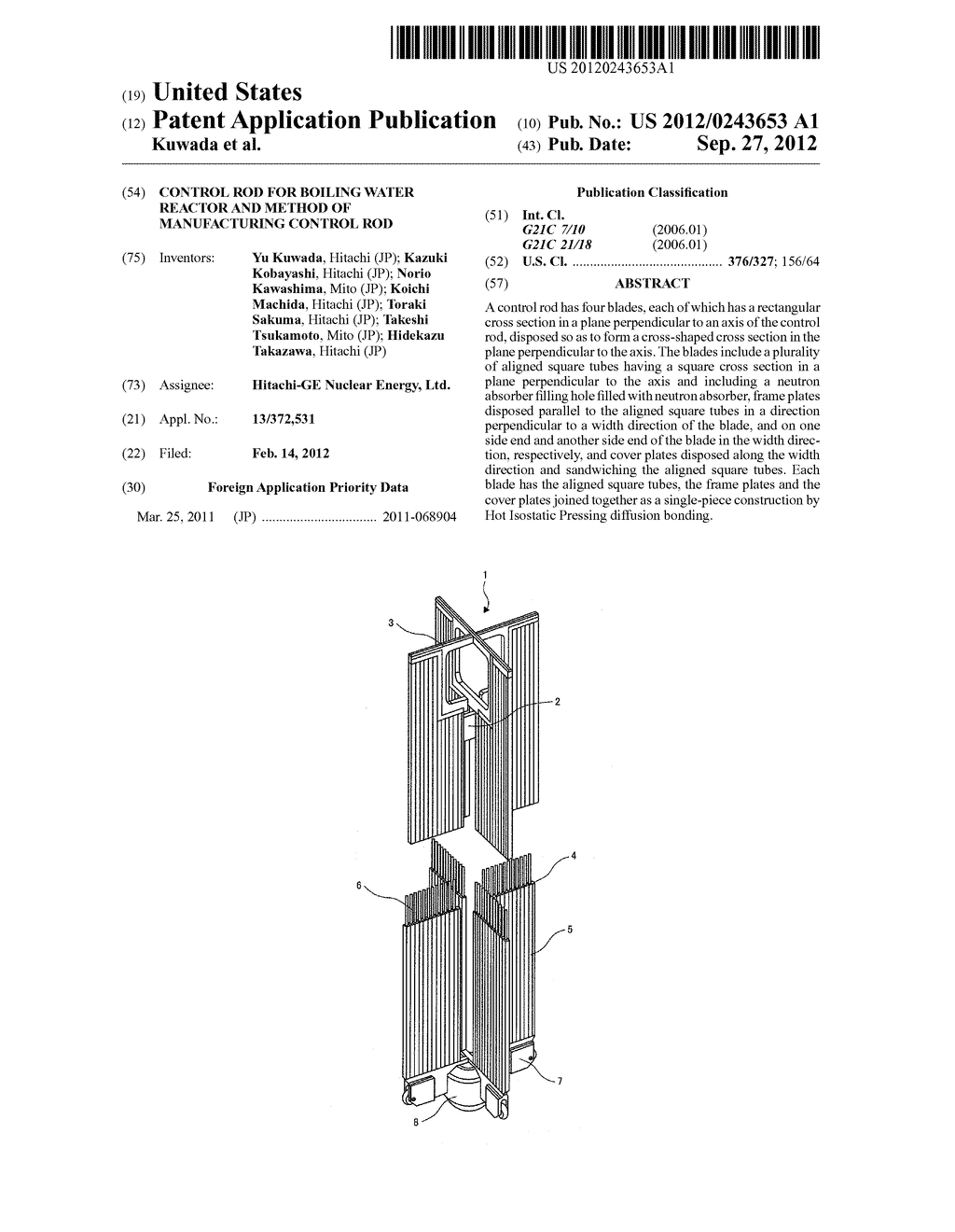 CONTROL ROD FOR BOILING WATER REACTOR AND METHOD OF MANUFACTURING CONTROL     ROD - diagram, schematic, and image 01