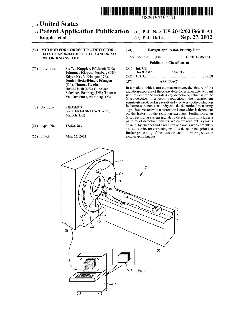 Method For Correcting Detector Data Of An X-Ray Detector And X-Ray     Recording System - diagram, schematic, and image 01