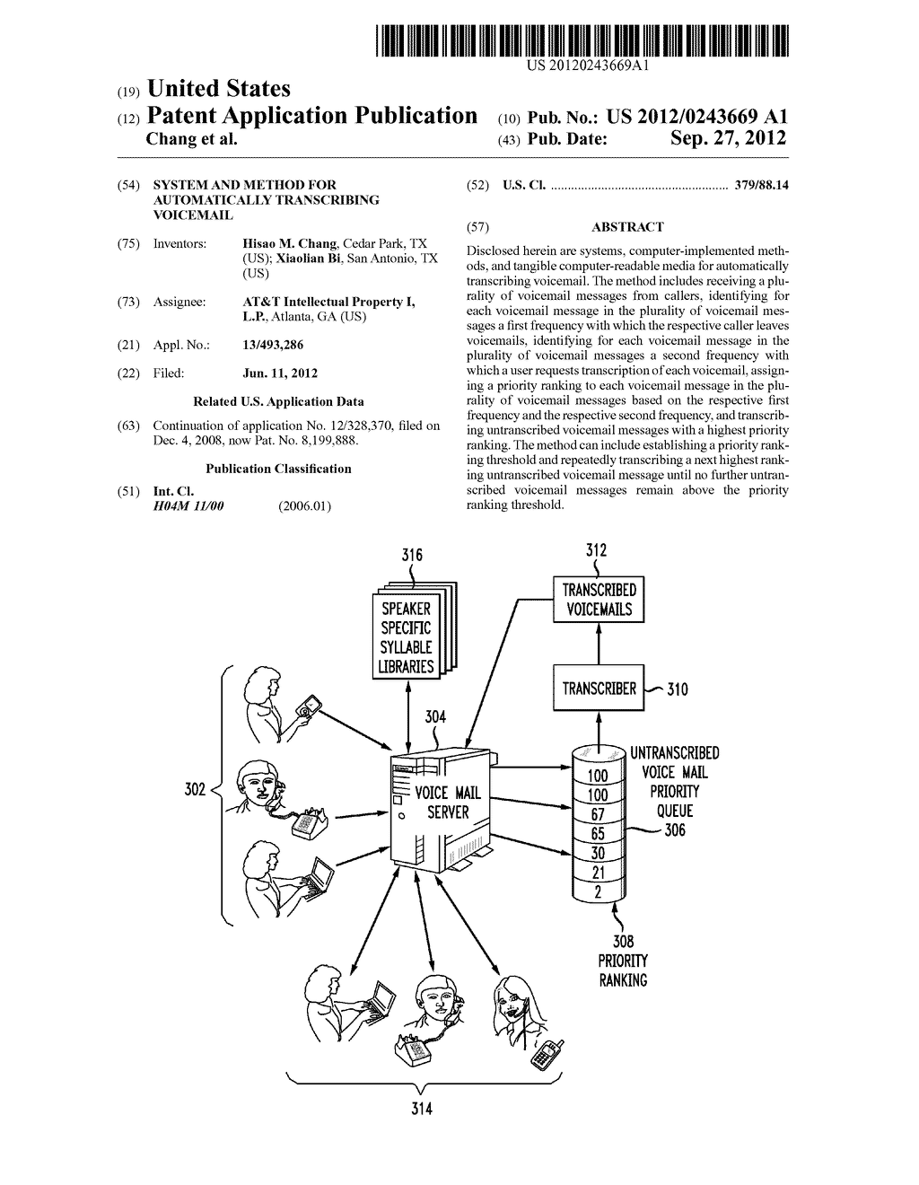 SYSTEM AND METHOD FOR AUTOMATICALLY TRANSCRIBING VOICEMAIL - diagram, schematic, and image 01