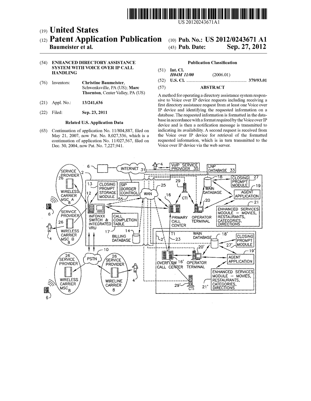 ENHANCED DIRECTORY ASSISTANCE SYSTEM WITH VOICE OVER IP CALL HANDLING - diagram, schematic, and image 01