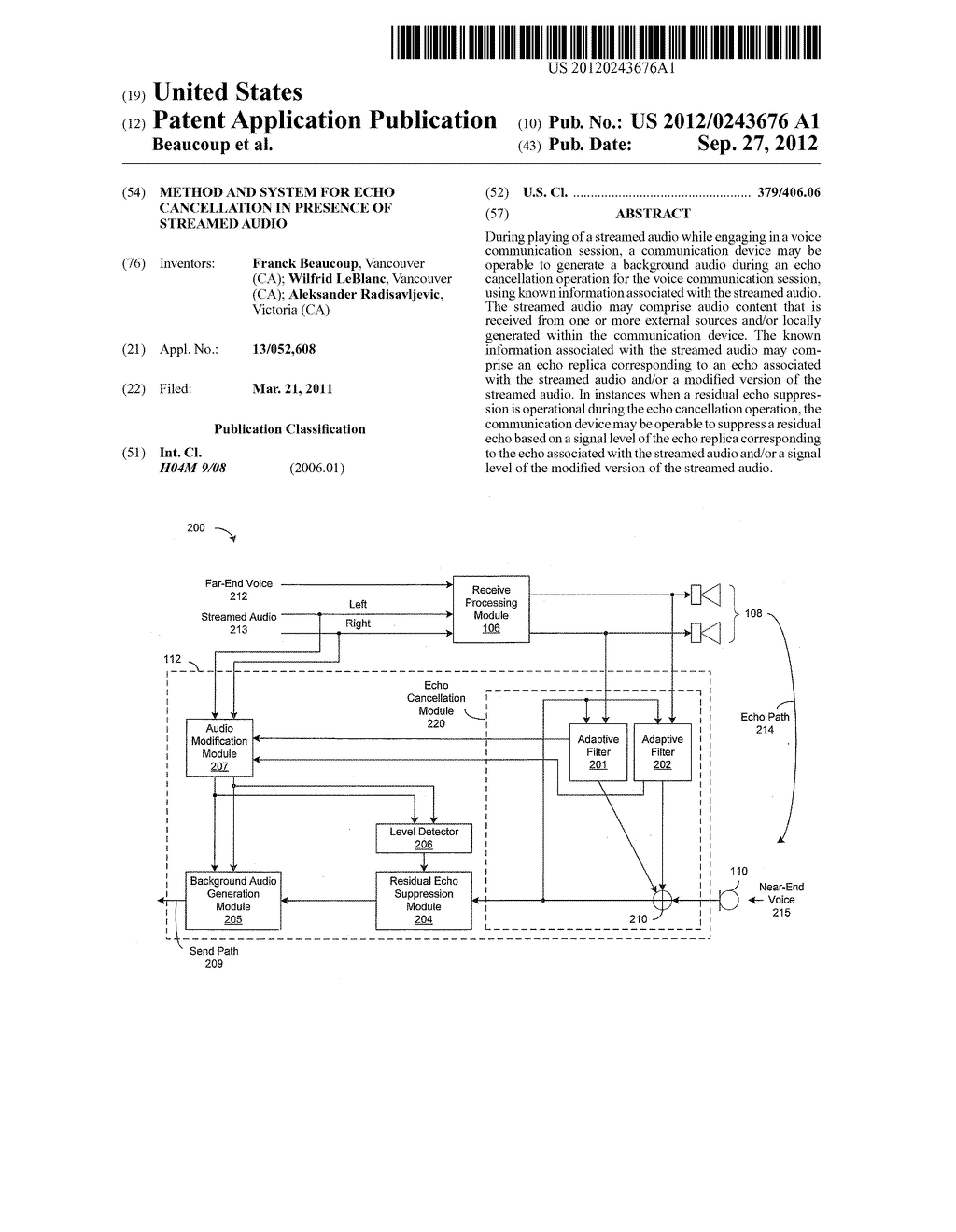 Method and System for Echo Cancellation in Presence of Streamed Audio - diagram, schematic, and image 01