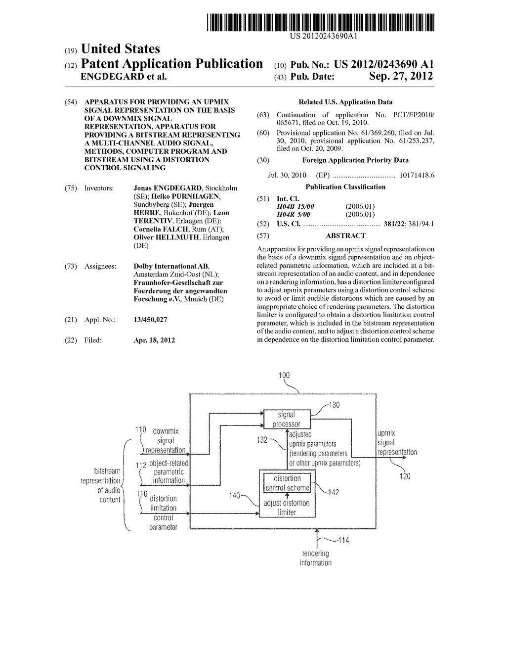 APPARATUS FOR PROVIDING AN UPMIX SIGNAL REPRESENTATION ON THE BASIS OF A     DOWNMIX SIGNAL REPRESENTATION, APPARATUS FOR PROVIDING A BITSTREAM     REPRESENTING A MULTI-CHANNEL AUDIO SIGNAL, METHODS, COMPUTER PROGRAM AND     BITSTREAM USING A DISTORTION CONTROL SIGNALING - diagram, schematic, and image 01