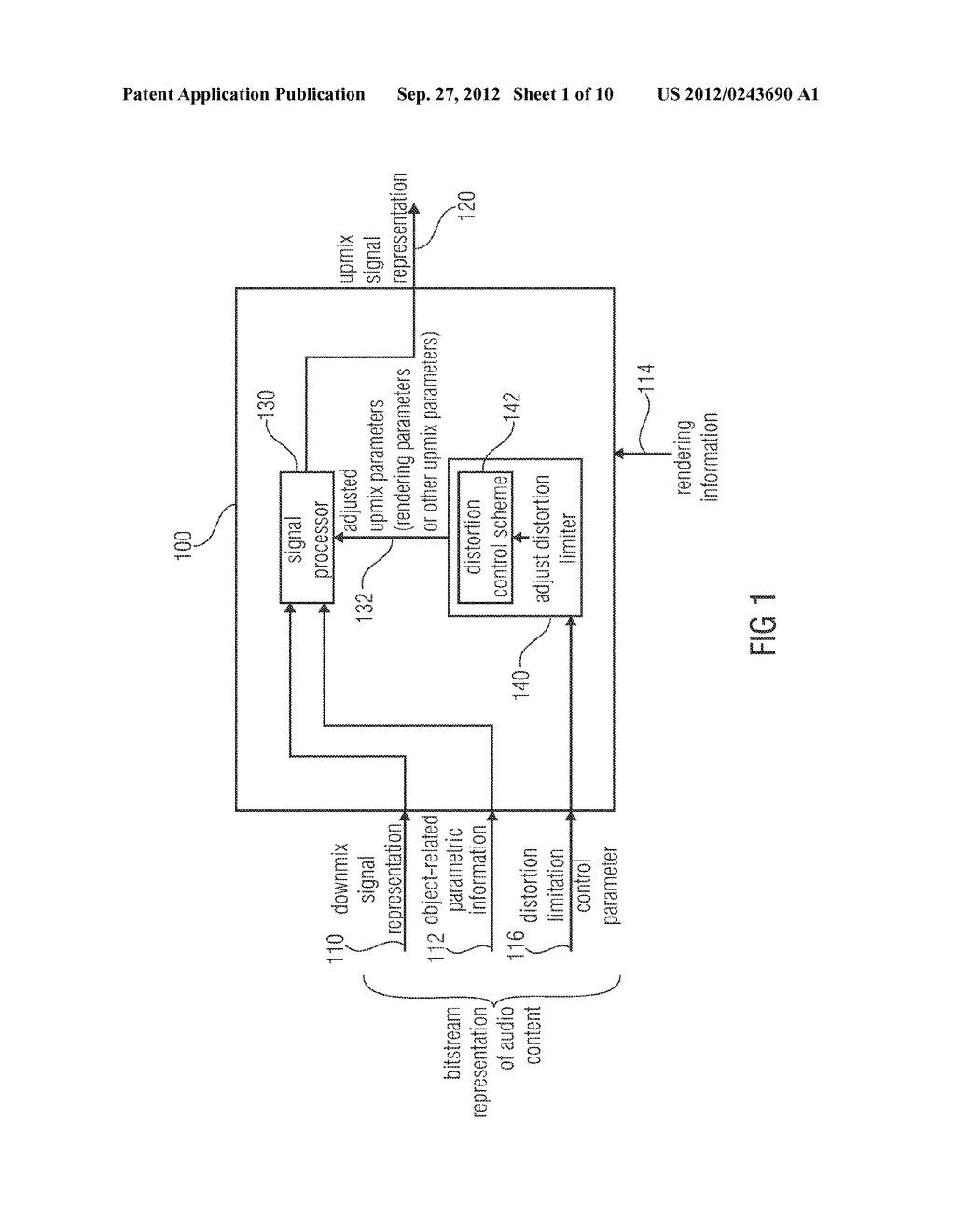 APPARATUS FOR PROVIDING AN UPMIX SIGNAL REPRESENTATION ON THE BASIS OF A     DOWNMIX SIGNAL REPRESENTATION, APPARATUS FOR PROVIDING A BITSTREAM     REPRESENTING A MULTI-CHANNEL AUDIO SIGNAL, METHODS, COMPUTER PROGRAM AND     BITSTREAM USING A DISTORTION CONTROL SIGNALING - diagram, schematic, and image 02
