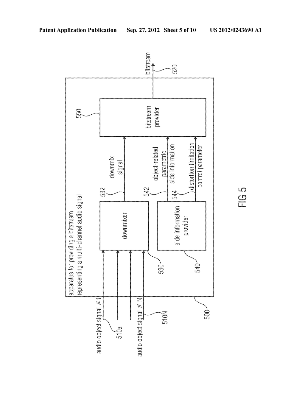 APPARATUS FOR PROVIDING AN UPMIX SIGNAL REPRESENTATION ON THE BASIS OF A     DOWNMIX SIGNAL REPRESENTATION, APPARATUS FOR PROVIDING A BITSTREAM     REPRESENTING A MULTI-CHANNEL AUDIO SIGNAL, METHODS, COMPUTER PROGRAM AND     BITSTREAM USING A DISTORTION CONTROL SIGNALING - diagram, schematic, and image 06