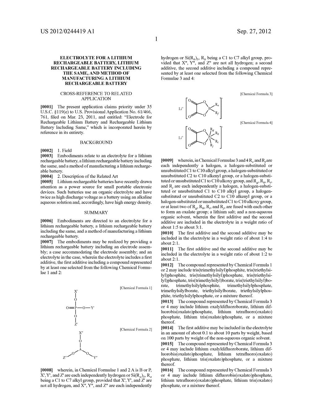 ELECTROLYTE FOR A LITHIUM RECHARGEABLE BATTERY, LITHIUM RECHARGEABLE     BATTERY INCLUDING THE SAME, AND METHOD OF MANUFACTURING A LITHIUM     RECHARGEABLE BATTERY - diagram, schematic, and image 03
