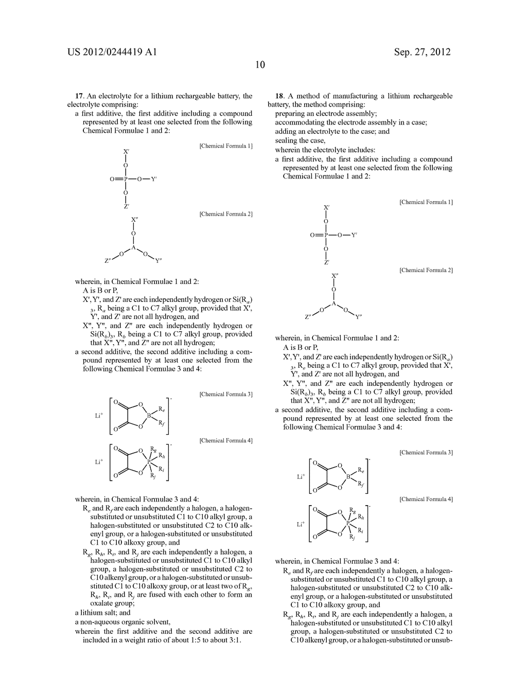 ELECTROLYTE FOR A LITHIUM RECHARGEABLE BATTERY, LITHIUM RECHARGEABLE     BATTERY INCLUDING THE SAME, AND METHOD OF MANUFACTURING A LITHIUM     RECHARGEABLE BATTERY - diagram, schematic, and image 12