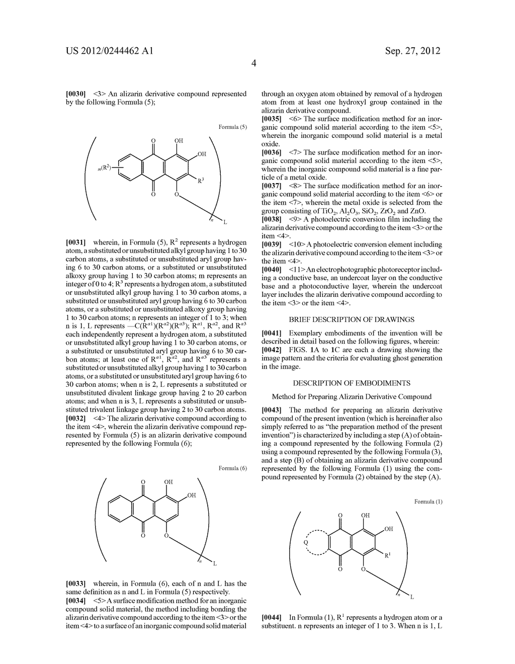 METHOD FOR PREPARING ALIZARIN DERIVATIVE COMPOUND, NOVEL ALIZARIN     DERIVATIVE COMPOUND, SURFACE MODIFICATION METHOD, PHOTOELECTRIC     CONVERSION FILM, PHOTOELECTRIC CONVERSION ELEMENT, AND     ELECTROPHOTOGRAPHIC PHOTORECEPTOR - diagram, schematic, and image 06
