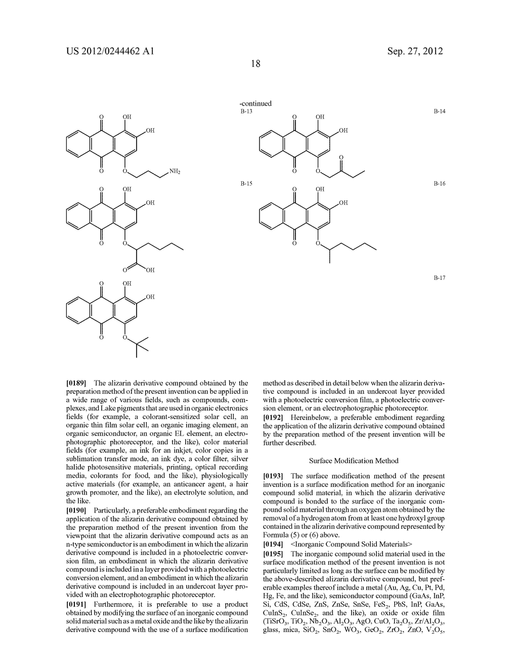 METHOD FOR PREPARING ALIZARIN DERIVATIVE COMPOUND, NOVEL ALIZARIN     DERIVATIVE COMPOUND, SURFACE MODIFICATION METHOD, PHOTOELECTRIC     CONVERSION FILM, PHOTOELECTRIC CONVERSION ELEMENT, AND     ELECTROPHOTOGRAPHIC PHOTORECEPTOR - diagram, schematic, and image 20