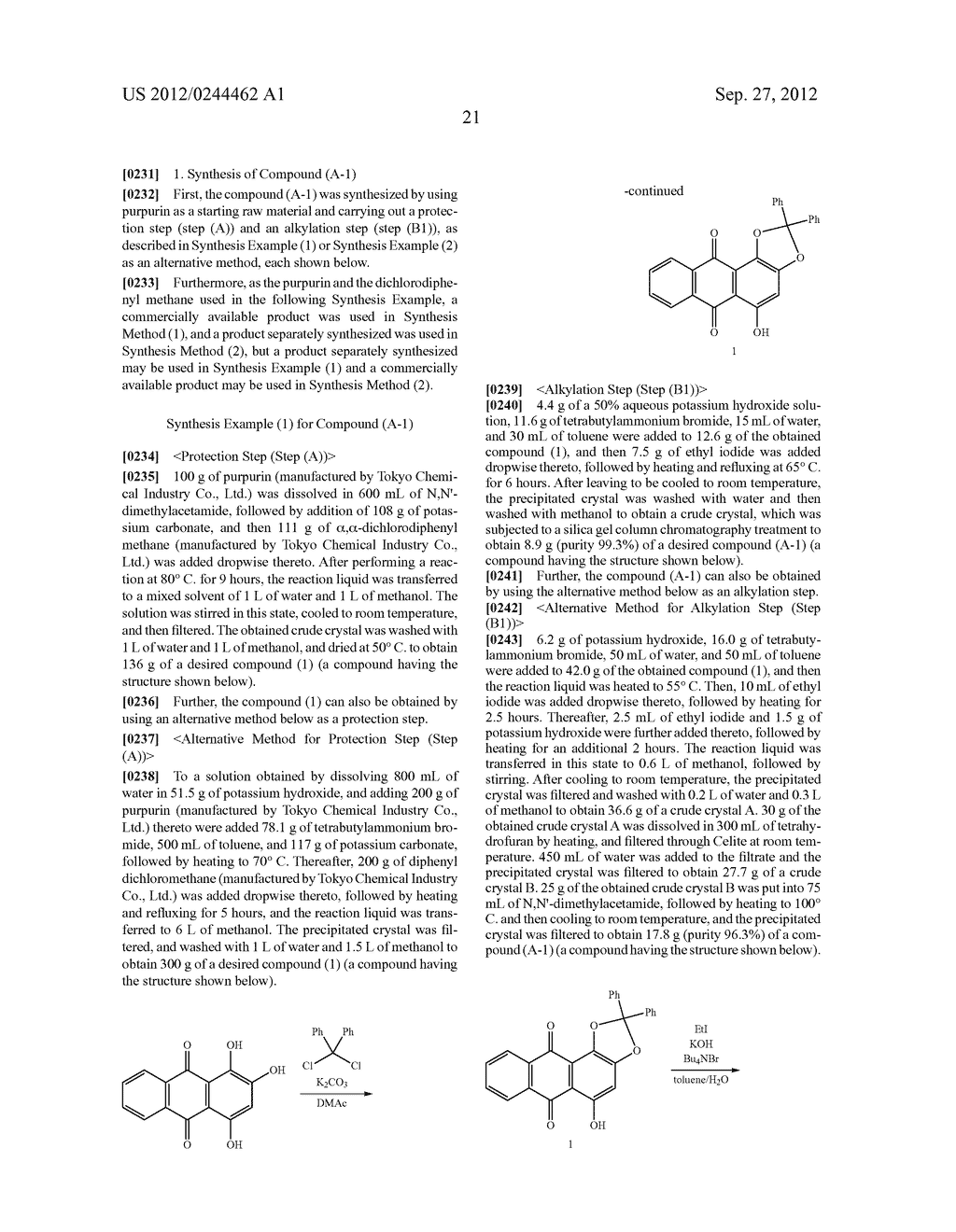 METHOD FOR PREPARING ALIZARIN DERIVATIVE COMPOUND, NOVEL ALIZARIN     DERIVATIVE COMPOUND, SURFACE MODIFICATION METHOD, PHOTOELECTRIC     CONVERSION FILM, PHOTOELECTRIC CONVERSION ELEMENT, AND     ELECTROPHOTOGRAPHIC PHOTORECEPTOR - diagram, schematic, and image 23