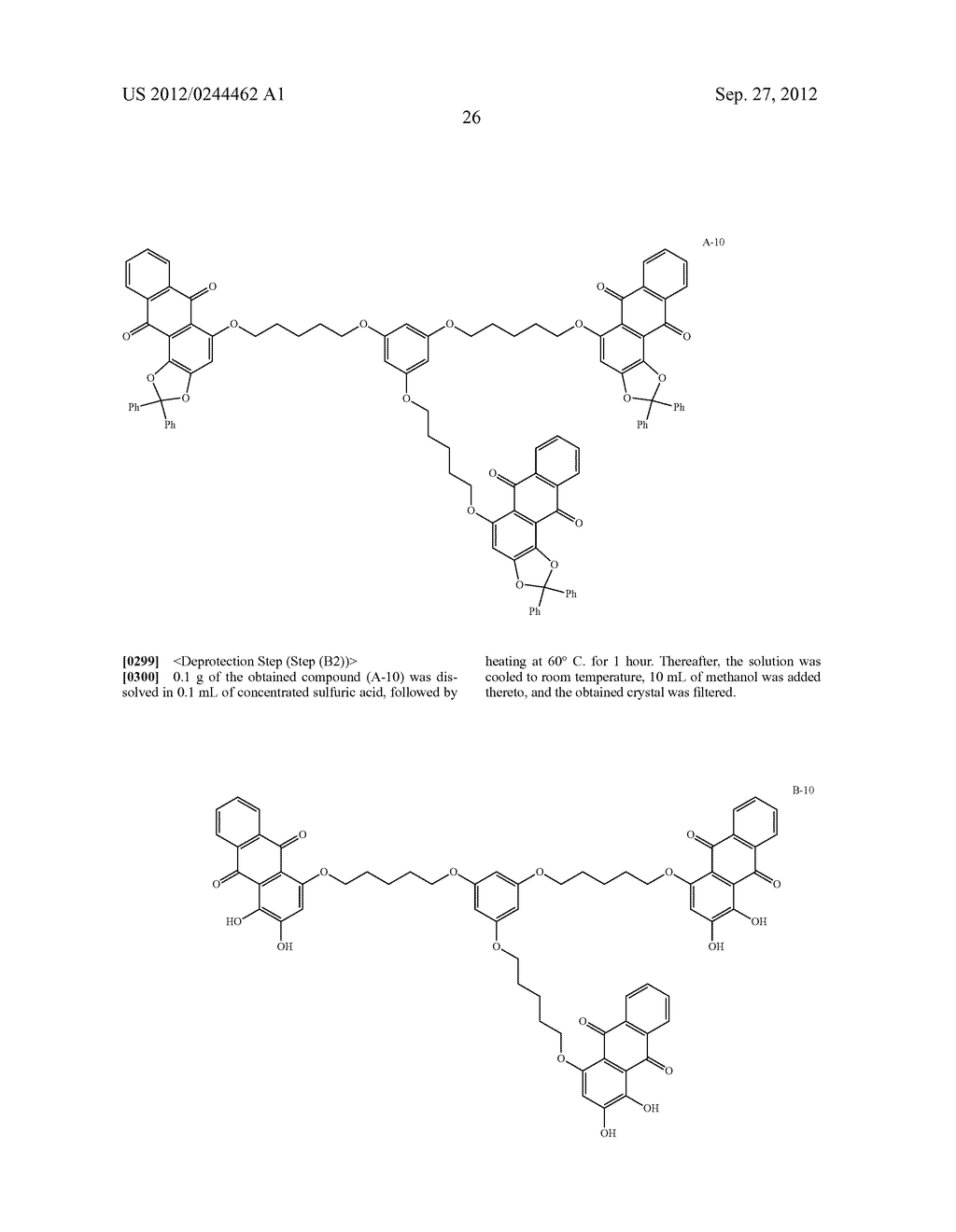 METHOD FOR PREPARING ALIZARIN DERIVATIVE COMPOUND, NOVEL ALIZARIN     DERIVATIVE COMPOUND, SURFACE MODIFICATION METHOD, PHOTOELECTRIC     CONVERSION FILM, PHOTOELECTRIC CONVERSION ELEMENT, AND     ELECTROPHOTOGRAPHIC PHOTORECEPTOR - diagram, schematic, and image 28