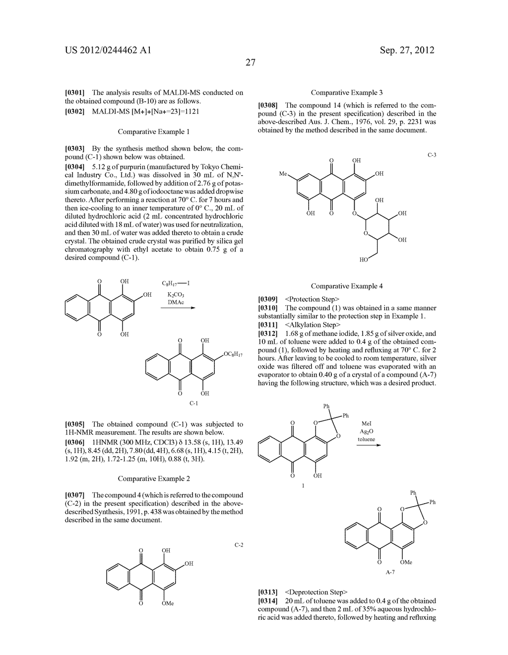 METHOD FOR PREPARING ALIZARIN DERIVATIVE COMPOUND, NOVEL ALIZARIN     DERIVATIVE COMPOUND, SURFACE MODIFICATION METHOD, PHOTOELECTRIC     CONVERSION FILM, PHOTOELECTRIC CONVERSION ELEMENT, AND     ELECTROPHOTOGRAPHIC PHOTORECEPTOR - diagram, schematic, and image 29