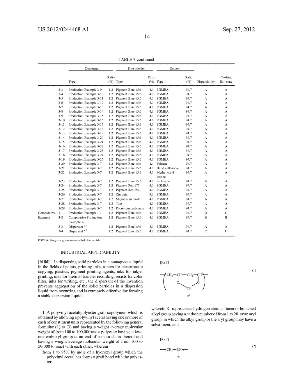 POLYVINYL ACETAL/POLYESTER GRAFT COPOLYMER, AND DISPERSANT - diagram, schematic, and image 15