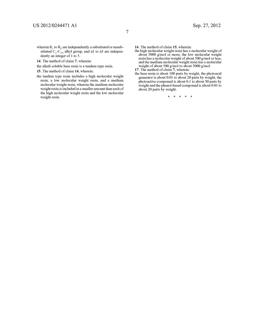 PHOTORESIST RESIN COMPOSITION AND METHOD OF FORMING PATTERNS BY USING THE     SAME - diagram, schematic, and image 17