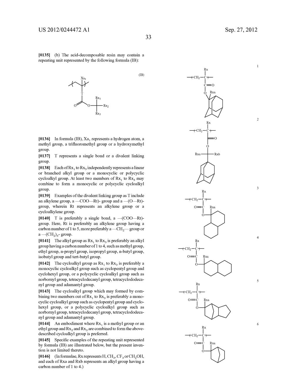 ACTINIC RAY-SENSITIVE OR RADIATION-SENSITIVE RESIN COMPOSITION, FILM     FORMED USING THE COMPOSITION AND PATTERN FORMING METHOD USING THE SAME - diagram, schematic, and image 34