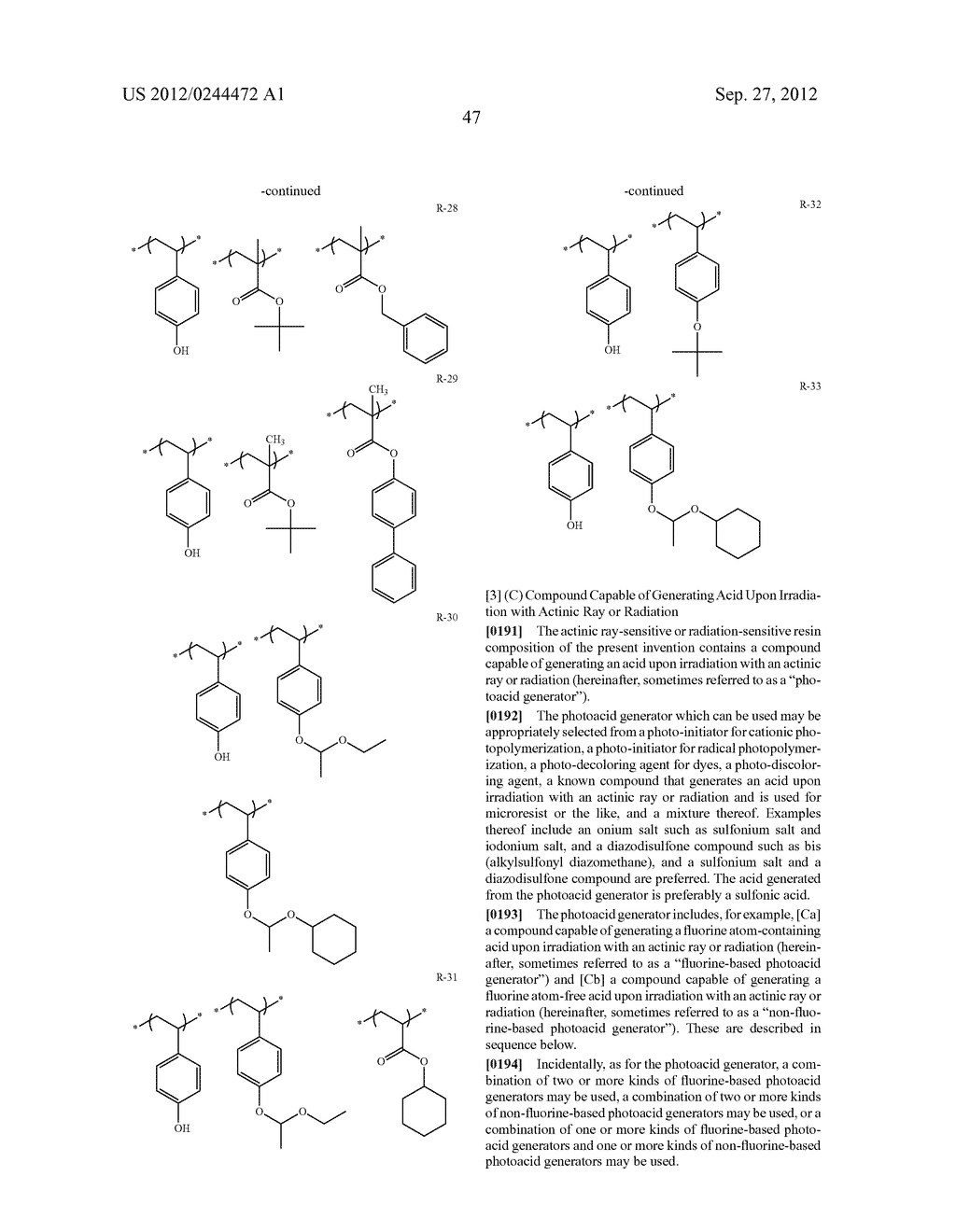 ACTINIC RAY-SENSITIVE OR RADIATION-SENSITIVE RESIN COMPOSITION, FILM     FORMED USING THE COMPOSITION AND PATTERN FORMING METHOD USING THE SAME - diagram, schematic, and image 48