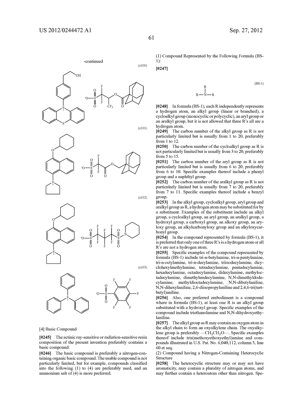 ACTINIC RAY-SENSITIVE OR RADIATION-SENSITIVE RESIN COMPOSITION, FILM     FORMED USING THE COMPOSITION AND PATTERN FORMING METHOD USING THE SAME - diagram, schematic, and image 62