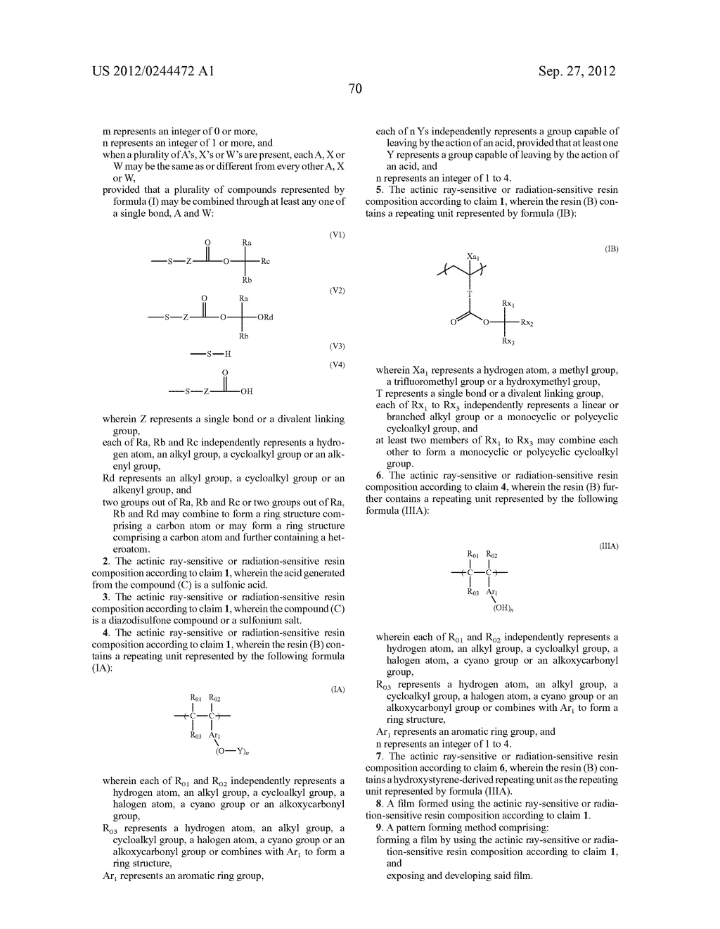 ACTINIC RAY-SENSITIVE OR RADIATION-SENSITIVE RESIN COMPOSITION, FILM     FORMED USING THE COMPOSITION AND PATTERN FORMING METHOD USING THE SAME - diagram, schematic, and image 71