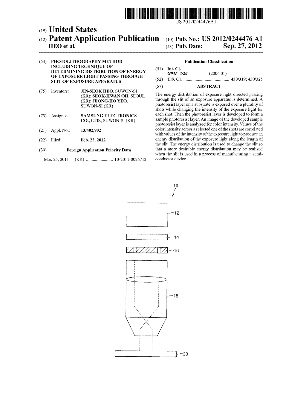 PHOTOLITHOGRAPHY METHOD INCLUDING TECHNIQUE OF DETERMINING DISTRIBUTION OF     ENERGY OF EXPOSURE LIGHT PASSING THROUGH SLIT OF EXPOSURE APPARATUS - diagram, schematic, and image 01