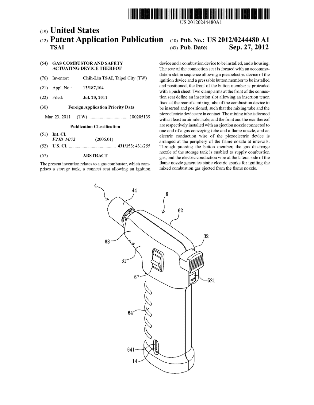 GAS COMBUSTOR AND SAFETY ACTUATING DEVICE THEREOF - diagram, schematic, and image 01
