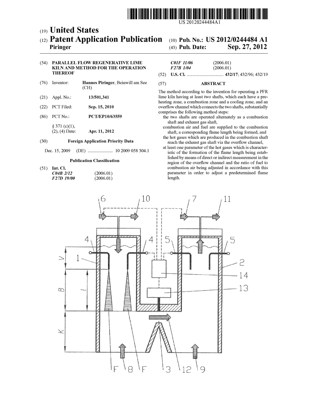 PARALLEL FLOW REGENERATIVE LIME KILN AND METHOD FOR THE OPERATION THEREOF - diagram, schematic, and image 01