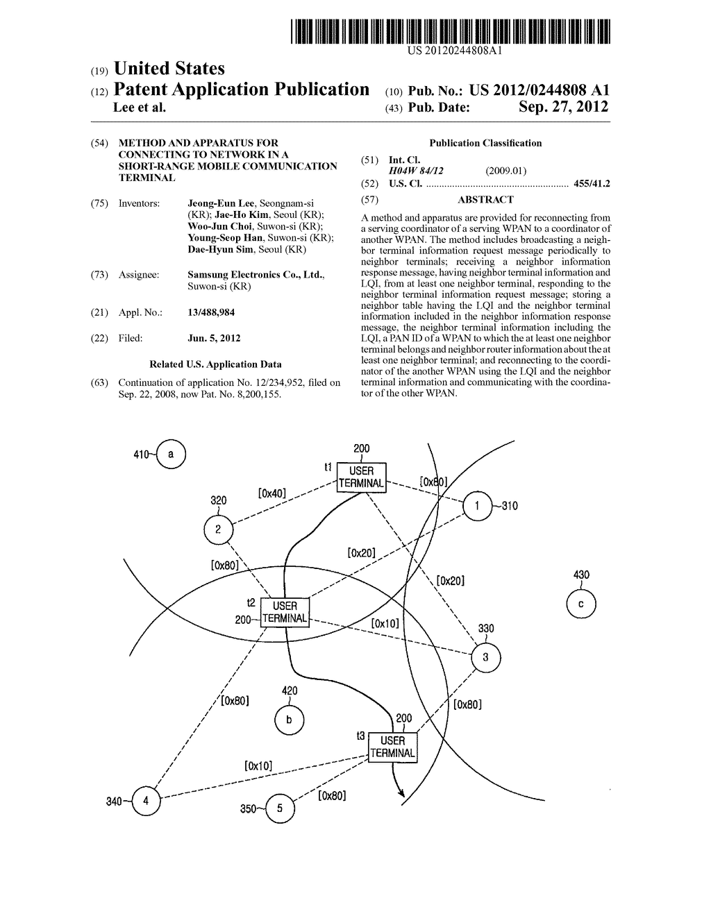 METHOD AND APPARATUS FOR CONNECTING TO NETWORK IN A SHORT-RANGE MOBILE     COMMUNICATION TERMINAL - diagram, schematic, and image 01