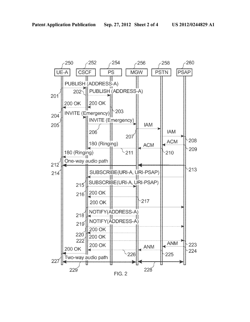 METHOD FOR THE OBTAINING OF POSITION INFORMATION FOR A USER INITIATING AN     EMERGENCY CALL IN A COMMUNICATION SYSTEM - diagram, schematic, and image 03