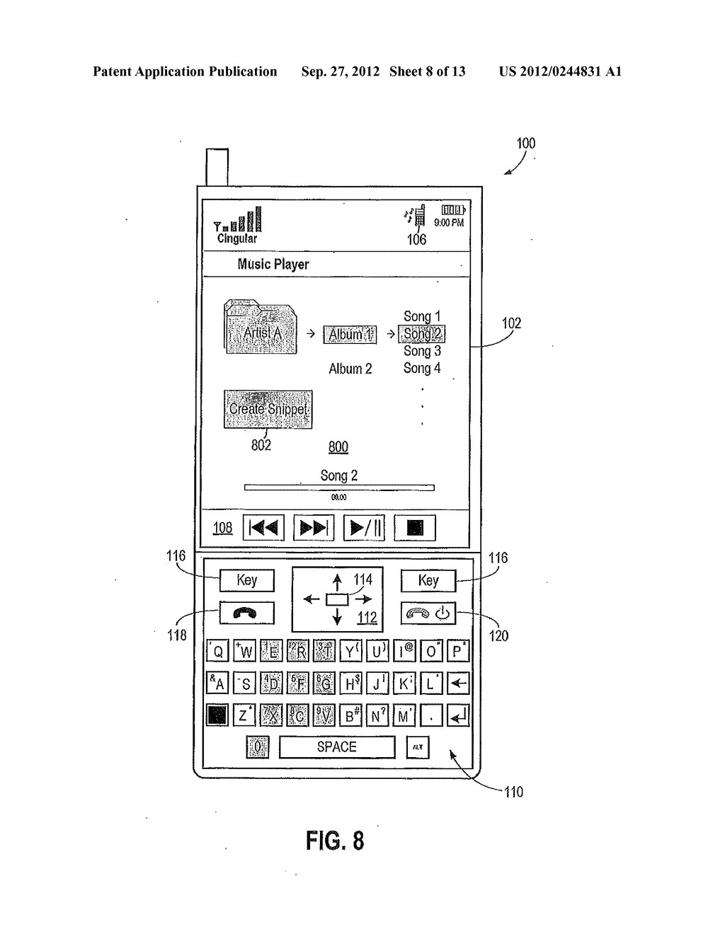 Devices and Methods for Creating a Snippet From a Media File - diagram, schematic, and image 09