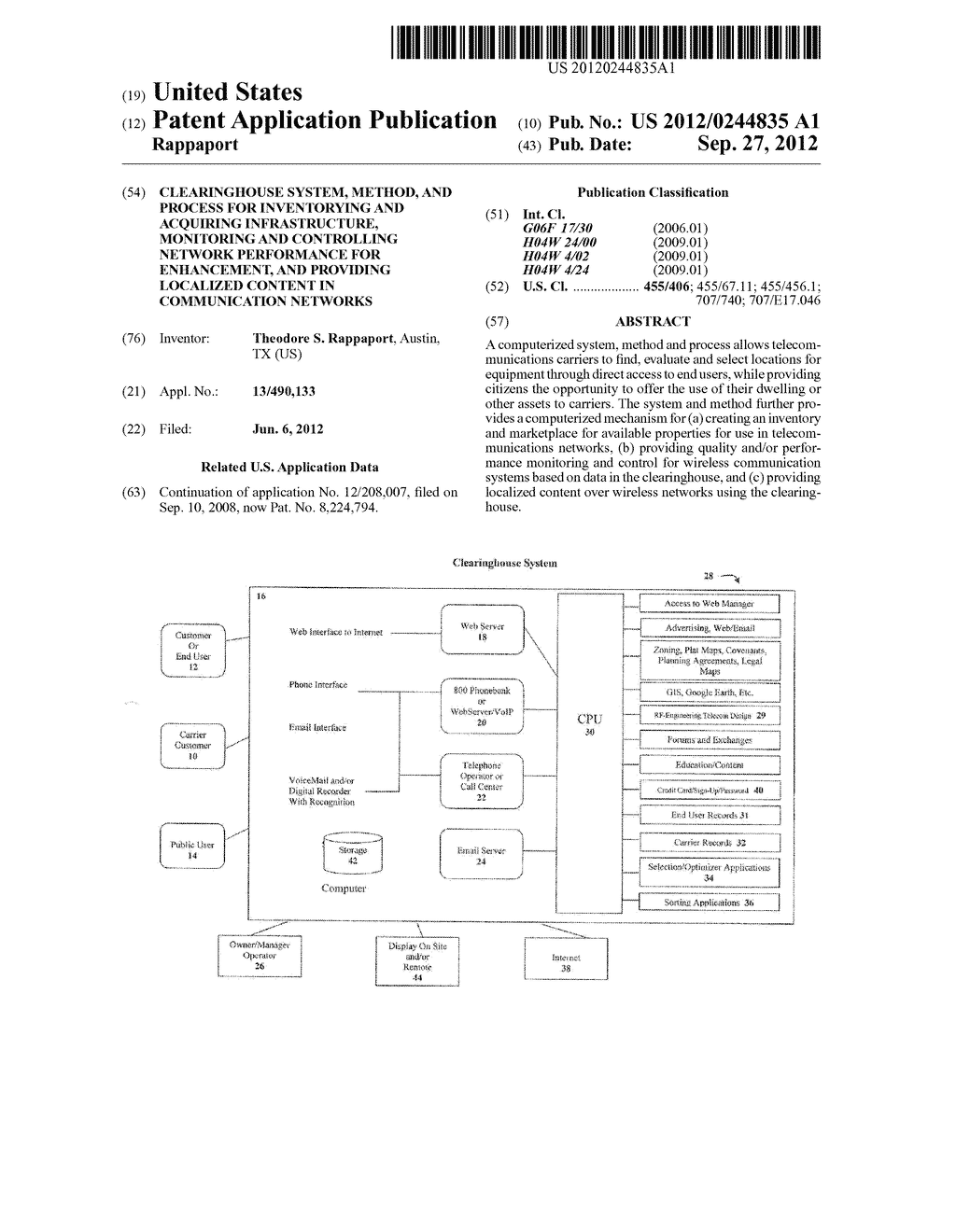 Clearinghouse System, Method, and Process for Inventorying and Acquiring     Infrastructure, Monitoring and Controlling Network Performance for     Enhancement, and Providing Localized Content in Communication Networks - diagram, schematic, and image 01