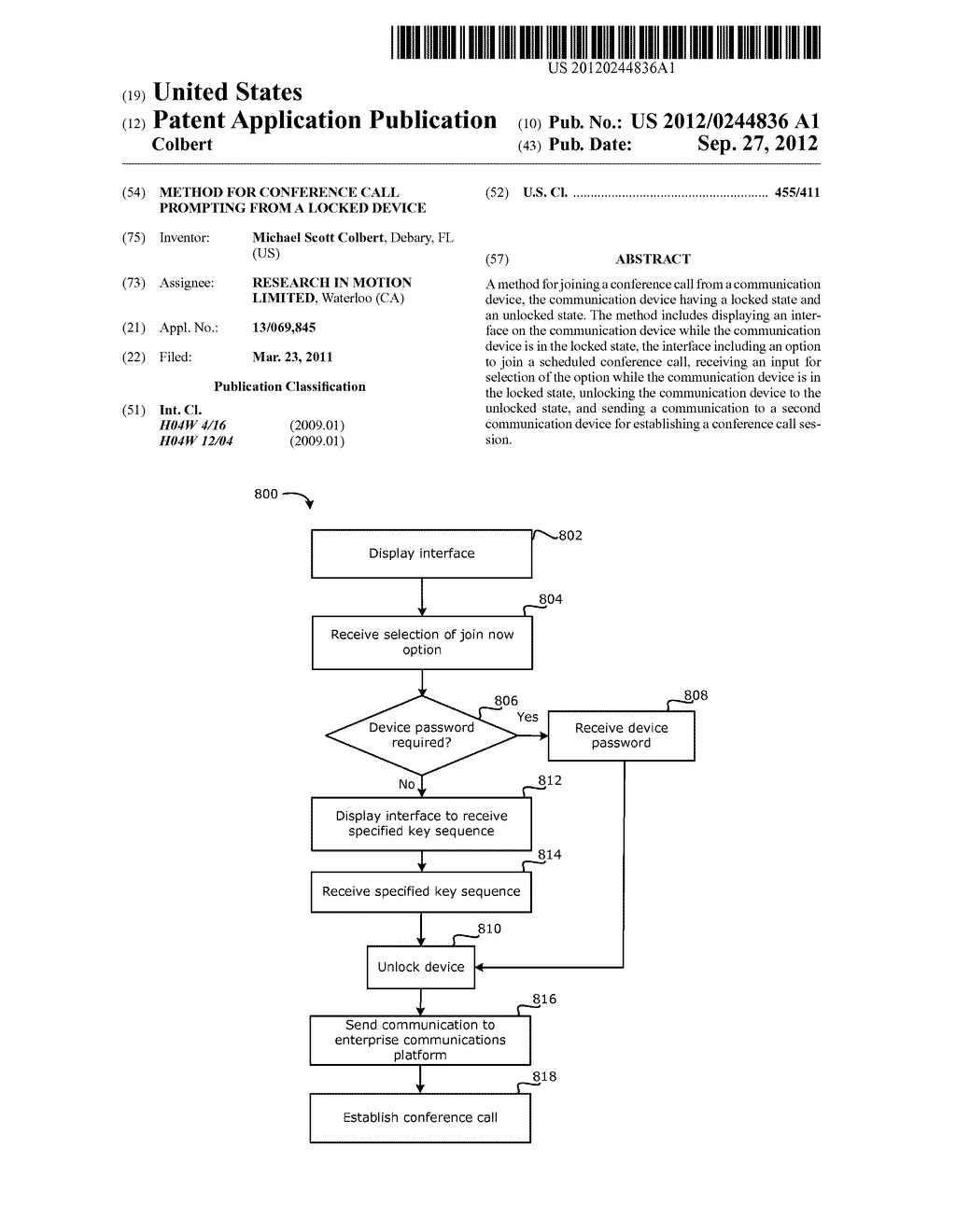 METHOD FOR CONFERENCE CALL PROMPTING FROM A LOCKED DEVICE - diagram, schematic, and image 01