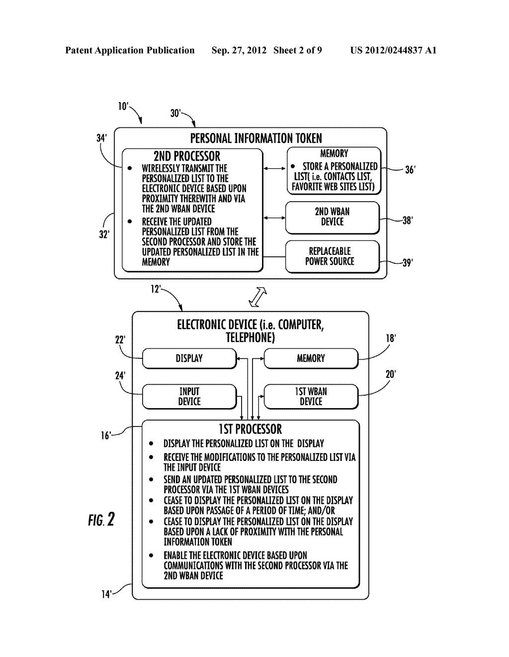 COMMUNICATIONS SYSTEM INCLUDING PERSONAL INFORMATION TOKEN TO STORE A     PERSONALIZED LIST AND ASSOCIATED METHODS - diagram, schematic, and image 03
