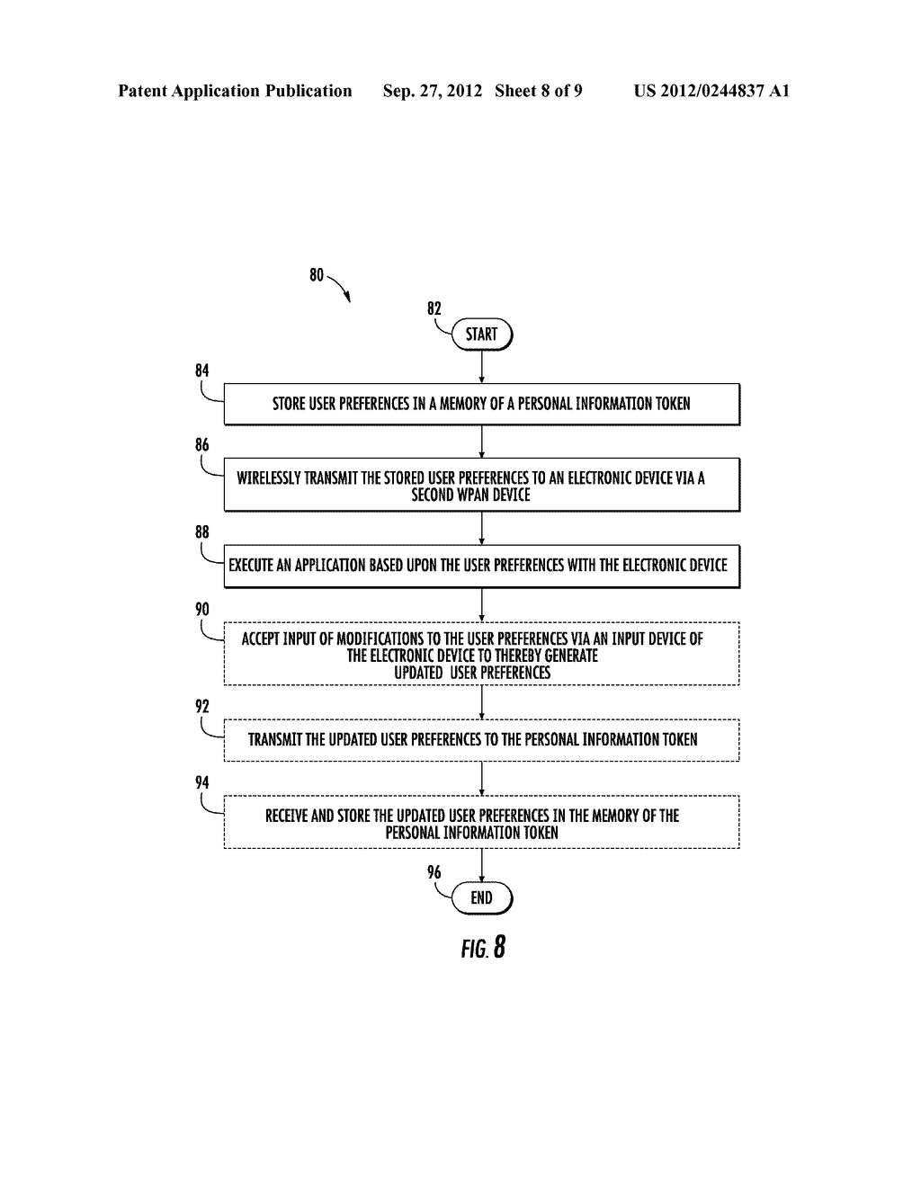 COMMUNICATIONS SYSTEM INCLUDING PERSONAL INFORMATION TOKEN TO STORE A     PERSONALIZED LIST AND ASSOCIATED METHODS - diagram, schematic, and image 09