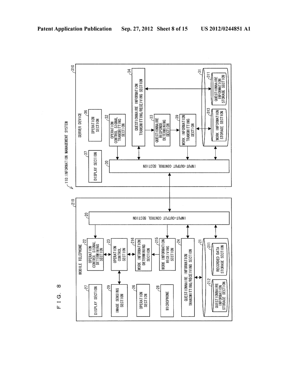 INFORMATION MANAGEMENT SYSTEM, MOBILE TERMINAL DEVICE, SERVER DEVICE,     INFORMATION MANAGEMENT METHOD, CONTROL PROGRAM AND COMPUTER-READABLE     RECORDING MEDIUM ON WHICH SAME HAS BEEN RECORDED - diagram, schematic, and image 09