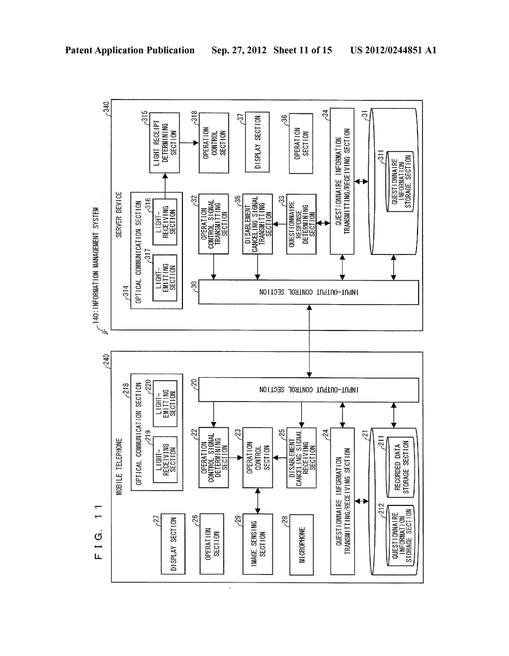INFORMATION MANAGEMENT SYSTEM, MOBILE TERMINAL DEVICE, SERVER DEVICE,     INFORMATION MANAGEMENT METHOD, CONTROL PROGRAM AND COMPUTER-READABLE     RECORDING MEDIUM ON WHICH SAME HAS BEEN RECORDED - diagram, schematic, and image 12