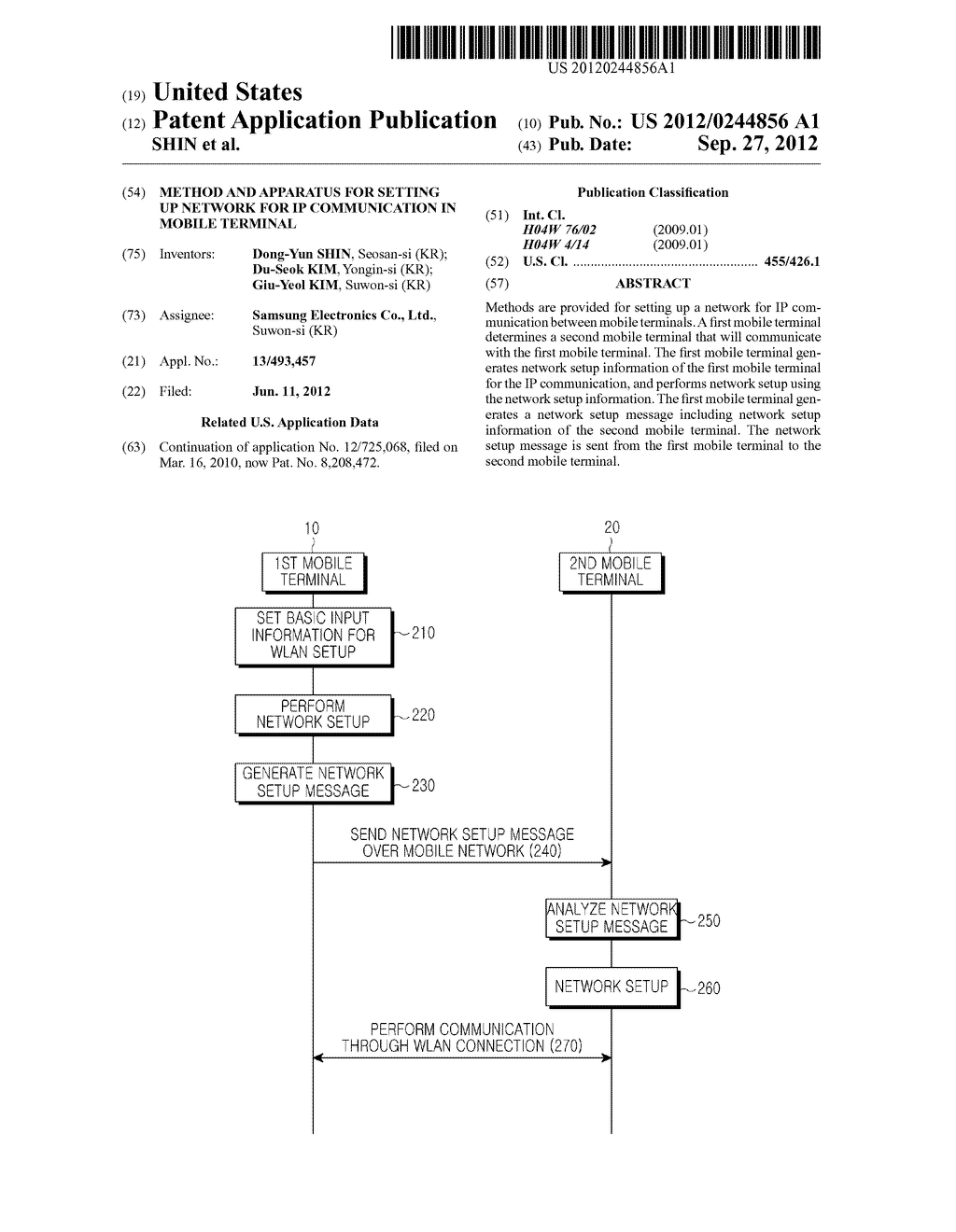 METHOD AND APPARATUS FOR SETTING UP NETWORK FOR IP COMMUNICATION IN MOBILE     TERMINAL - diagram, schematic, and image 01