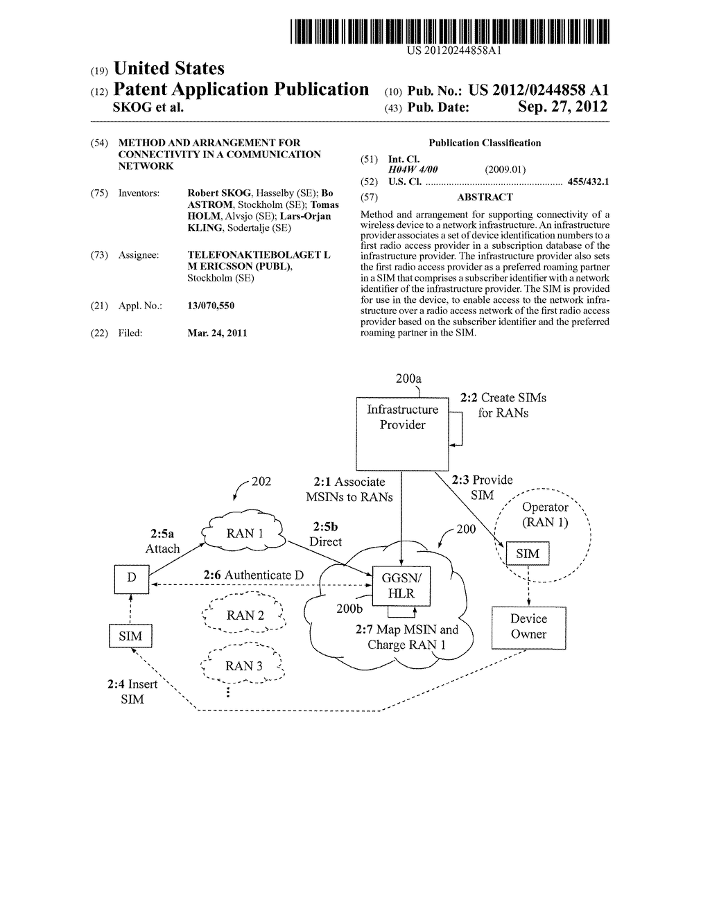 Method and Arrangement for Connectivity in a Communication Network - diagram, schematic, and image 01