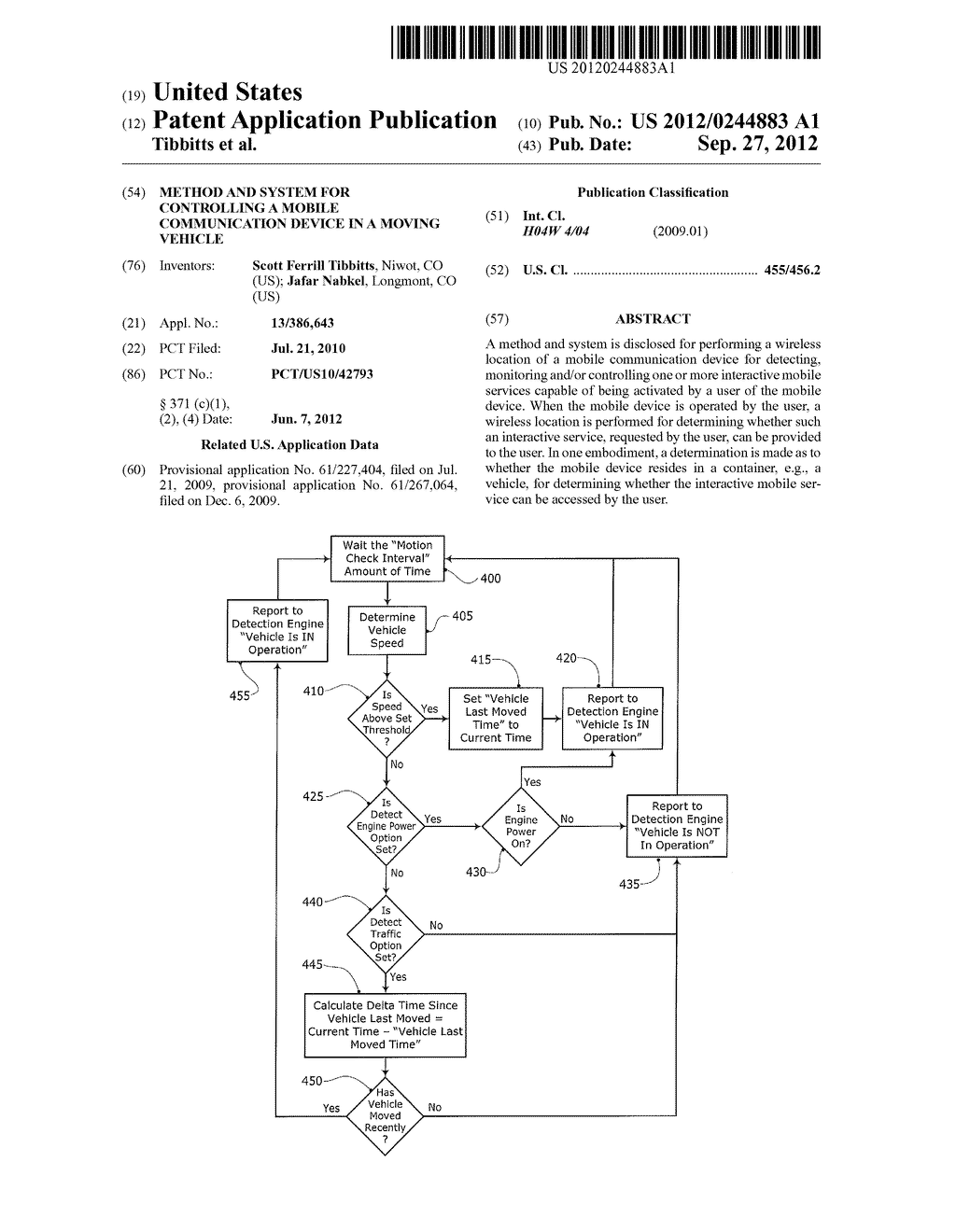 METHOD AND SYSTEM FOR CONTROLLING A MOBILE COMMUNICATION DEVICE IN A     MOVING VEHICLE - diagram, schematic, and image 01