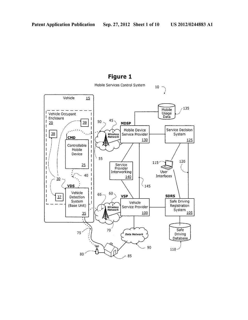 METHOD AND SYSTEM FOR CONTROLLING A MOBILE COMMUNICATION DEVICE IN A     MOVING VEHICLE - diagram, schematic, and image 02