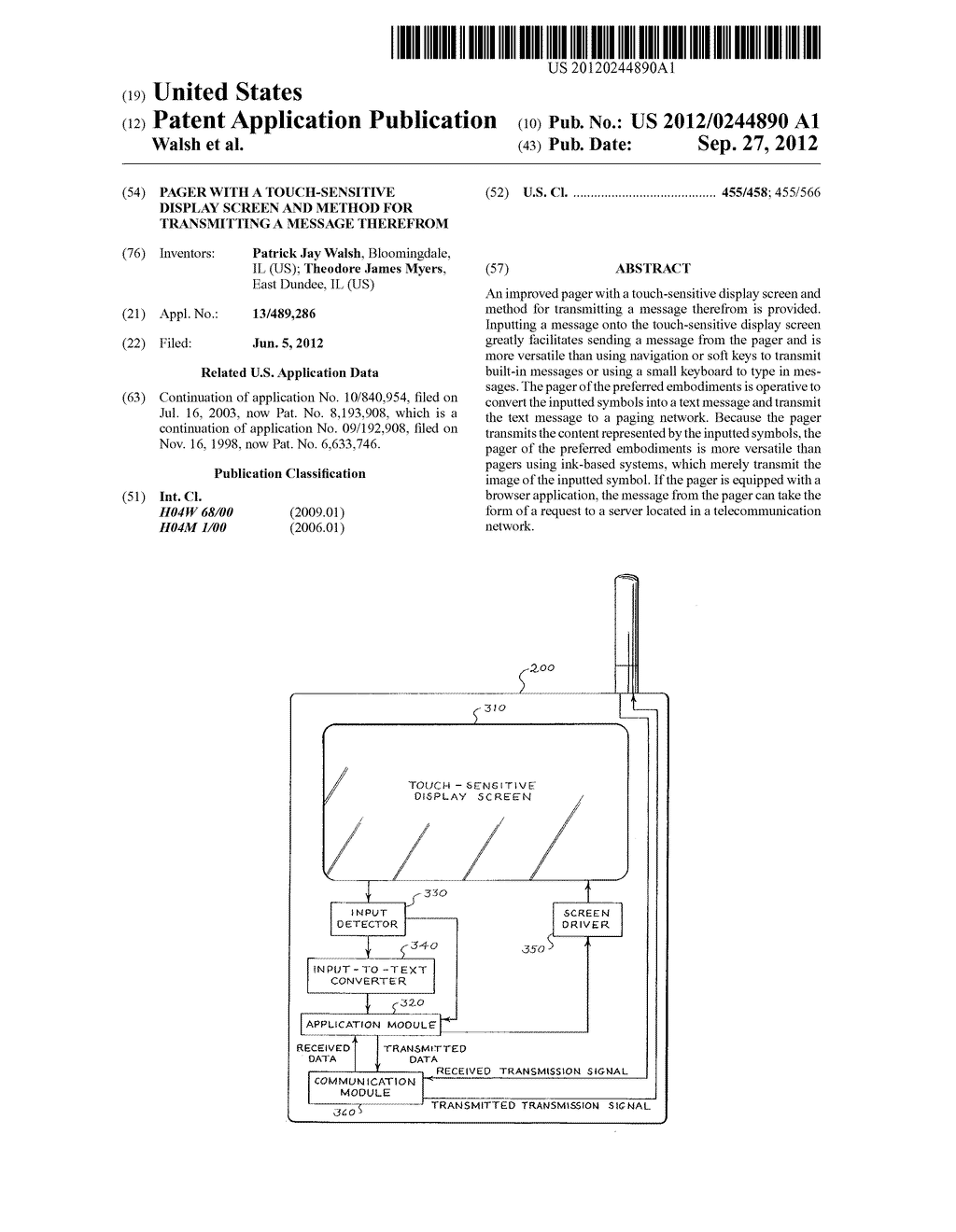 Pager with a Touch-Sensitive Display Screen and Method for Transmitting a     Message Therefrom - diagram, schematic, and image 01